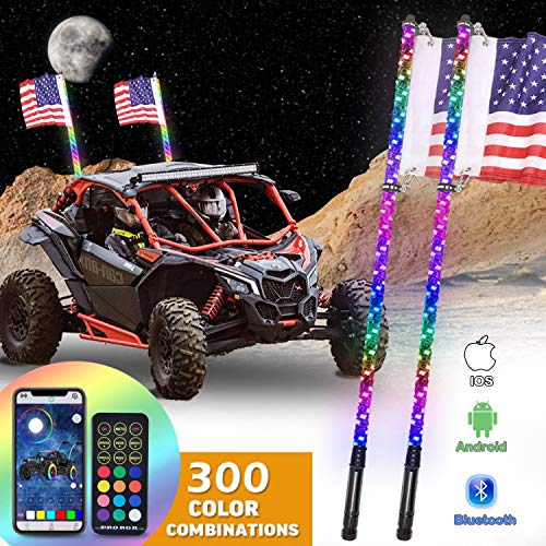 OHMU 2Pcs 4FT LED Whip Lights Bluetooth and Remote Control w/Flag Spiral RGB Chase Light Offroad 360°Spiraling Warning Lighted Antenna LED Dancing Whips