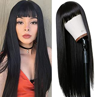 Vvan Long Straight Remy Hair Wigs Natural Black Heat Resistant Fiber Hair Full Machine Wig with Bangs Cosplay Party Wig Fo...