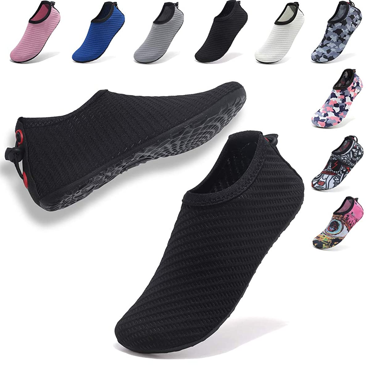 VIFUUR Womens Mens Water Sport Shoes Adjustable Aqua Socks Surf Beach Pool Shoes with Elastic ldrqkaexwndtfwwk