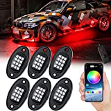 Waterproof LED RGB Rock Lights Phone Remote Timing Music Mode Multicolor Neon LED Light Kit Waterproof AUTO Wheel Exterior Underglow Lighting Compatible with Jeep Under Car Truck SUV Off Road (6)