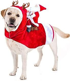 Kyerivs Dog Christmas Costume Dog Santa Claus Costume Dog Cat Christmas Holiday Outfit Pet Christmas Clothes Running Santa Claus Riding on Pet Christmas Gift for Medium to Large Sized Dogs
