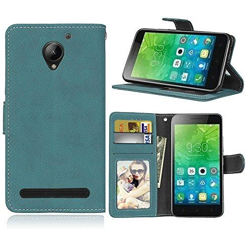 Funda Lenovo Vibe C2 k10a40,Bookstyle 3 Card Slot PU Cuero Cartera para TPU Silicone Case Cover(Azul)