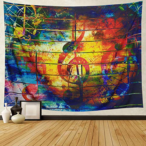 Ameyahud Music Decor Wall Tapestry Wall Hanging Music Note Tapestry Colorful Tapestry Psychedelic Bohemian Mandala Tapestry Indian Wall Art Wall Tapestry Bedroom Living Room Dorm Decor
