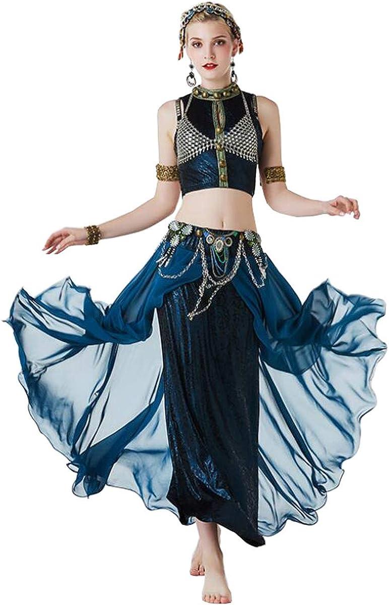 Nanxcyr Women's Belly Dance Skirt Bohemian Costume Tribal Ice Silk ...