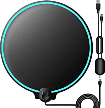 $25 » TV Antenna, Indoor Digital HDTV Amplified Television Antenna Freeview 4K 1080P HD VHF UHF for Local Channels 130 Miles Range with Signal Amplifier Support All TV 16.5 feet Coax Cable