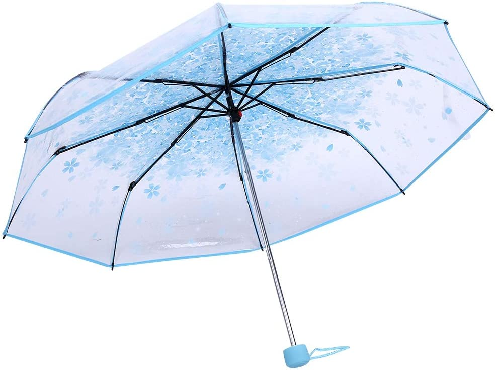 Lazmin At the price Transparent Sakura Albuquerque Mall Folding Clear Umbrel Umbrella Outdoor