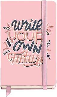Miquelrius - Cuaderno Tapa Dura - Tamaño 90 x 140 mm, 100 Hojas Blancas, Cierre con Goma, Color Rosa, Diseño Write