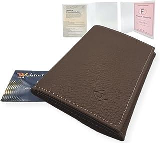 Porte Papier Voiture Cuir avec 2 Etuis Proteges Carte Grise et Permis - Porte Document Véhicule avec Rangement Assurance e...
