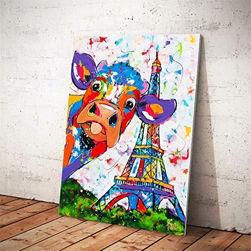 SADHAF Abstracte aquarelkoe Eiffeltoren affiche en kunstschilderij op canvas muurschilderij hoofddecoratie 70X100cm (kein Rahmen) A6.