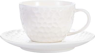 كوب اسبرسو 201 جم مع صحون بورسلين للقهوة كوب شاي من السيراميك، تصميم مطروق، لون أبيض