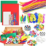 ONFMY Assorted Arts and Crafts Supplies for Kids Girls - DIY Art Craft Kit for Kids Ages 4 5 6 7 8 9 10 Creative Pompoms Pipe Cleaners Feather Felt Wiggle Googly Eyes Wood Clips Scissors