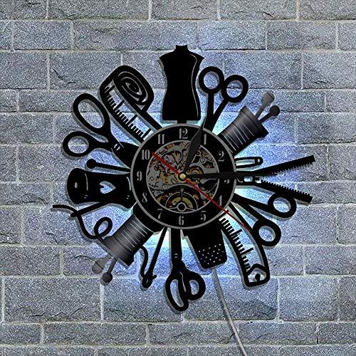 BFMBCHDJ Herramientas para el hogar Estilo Registro Reloj de Pared Moda Decoración para el hogar Reloj de Pared de Vinilo Retro Nostálgico Reloj clásico Recuerdos A2 Sin LED 12 Pulgadas