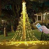 V-Dank イルミネーション ライト LED 350球 ドレープライト クリスマス イルミネーション ソーラー式 防水 屋外 屋内 店舗 家庭 星モチーフ ツリー 飾り付け 8モード リモコン付 タイマー機能 電飾 飾り ライト ストリップライト 自動点灯 消灯 パーティー 新年 祝日 結婚式 庭対応