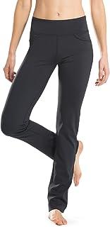 Safort Gerade geschnittene Yogahosen für Damen 160cm -182 cm, 4 Hosentaschen, undurchsichtig, schwarz