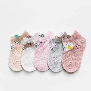 5 Pares/Lote 0 a 8 Años Primavera Verano Calcetines Finos De Malla para Niñas Niños Calcetines Finos De Animales Lindos Calcetines Cortos para Bebés Recién Nacidos