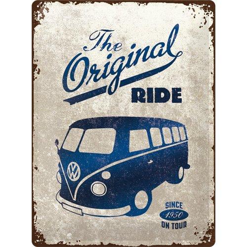 Nostalgic-Art Volkswagen Retro Blechschild - VW Bulli T1 - Original Ride, Blechschild als Vintage VW Bus Geschenk-Idee, zur Dekoration, 30 x 40 cm