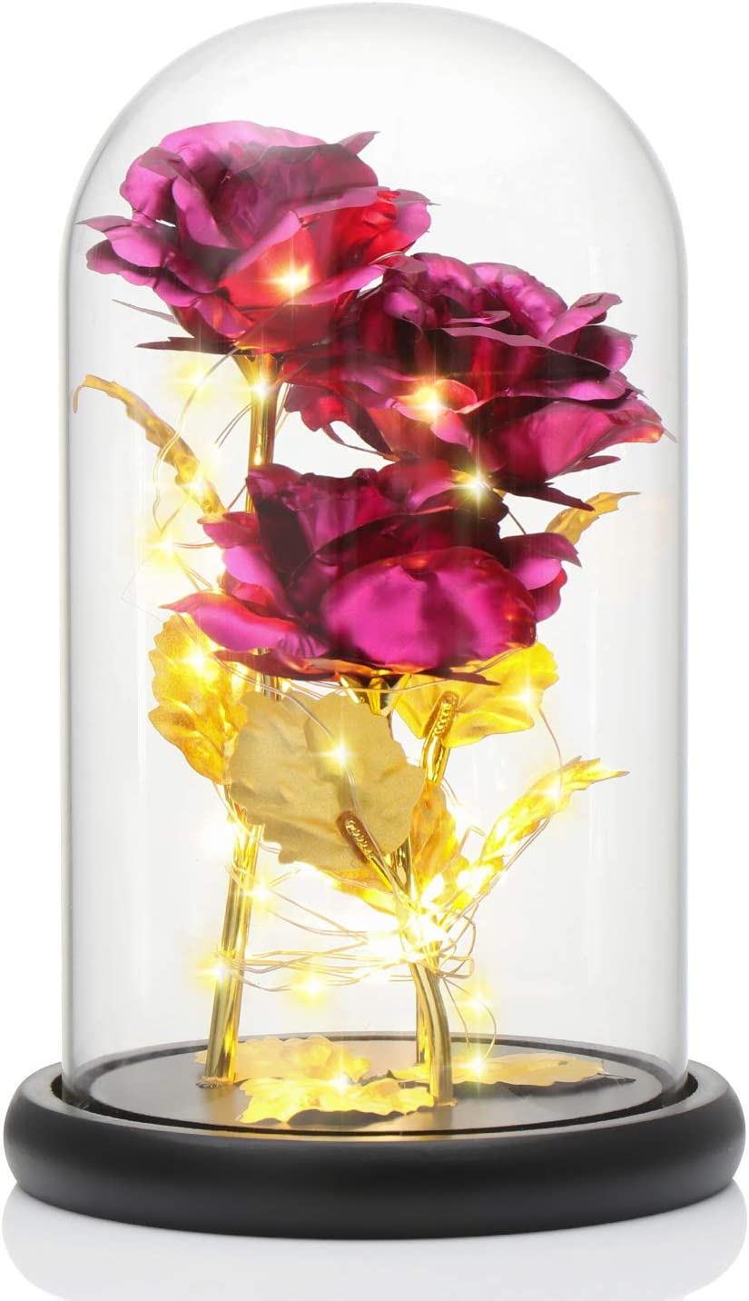 OFFicial site Genenic 24K Gold Foild Plated Rose L Led 20 Flowers Luxury goods 3 Heads