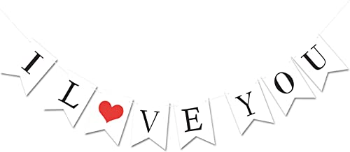 KatchOn I Love You Banner, Paper - Assembled Banner | No DIY | Valentines Day Decorations - Valentine's Decorations | Valentines Day Banner Sign for Engagement, Wedding Decor for Mantle, Fireplace