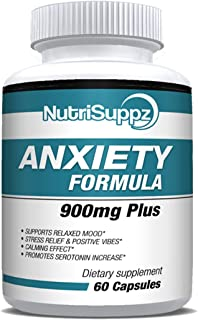 Anti Anxiety Supplement 900mg With Gaba, L-Theanine, 5-HTP, Ashwagandha, Magnesium Oxide, St. John's Wort, Chamomile - Pos...