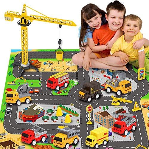 RuiDaXiang Juegos de Juguetes para vehículos de construcción de ingeniería, con tapete Play Ciudad, Camiones de Juguete, Juego de Juegos Mini Pull Back Cars