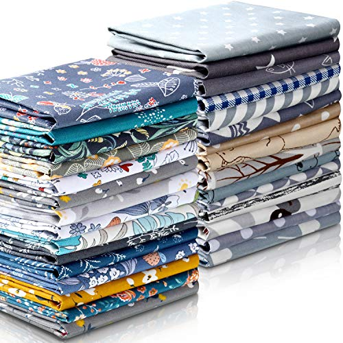 30 Pieces 10 x 10 Inches Fabric Printed Bundle Squares Floral Fabric Patchwork Sewing Quilting Bundles Assorted Pattern Fabric for DIY Scrapbook Craft Making