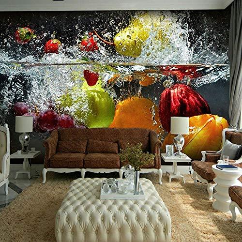 YIERLIFE Murales Decoración 3D pegatinas de pared - Fruta creativa en el agua, frutería - Fotomural para Pared Fondo Fotomural para Paredes Decoración comedores, Salones, Habitaciones