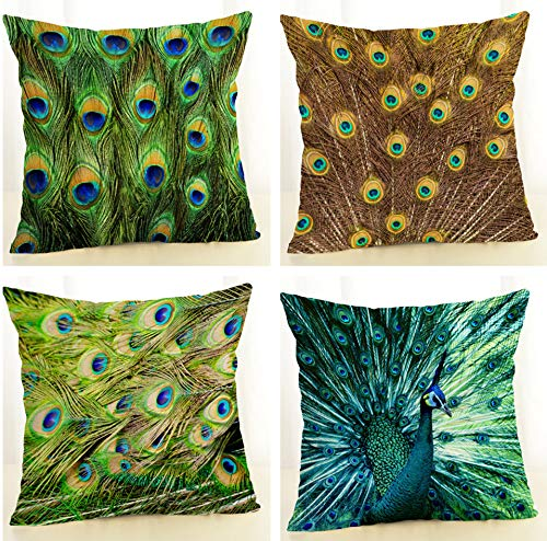 SCVBLJS Peacock Feather Linen Cushion Covers Set Of 4 Pillowcase Sofa Car Couch Living Room Bed Decor Pillow Covers 45 X 45 Cm