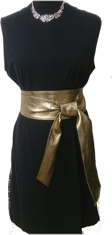 Woman's Metallic Don't miss the campaign Gold Leather Obi Sash Plus Corset Wrap Size Super intense SALE Tie