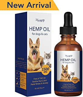 Fancymay Hemp Oil for Dogs & Pets 1500MG 60ml, Organic Pet Hemp Oil Treats, Anxiety Relief for Dogs and Cats, Supports Hip and Joint Health, Pain Relief - OMEGA 3, 6
