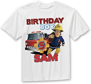 Fireman Sam Birthday Shirt, Boys Fireman Birthday shirt