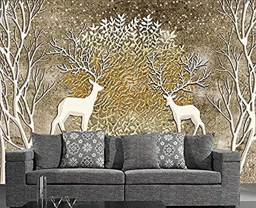 Embossed Retro Nostalgic Elk Golden Forest Wall Wallpaper Decoration 3D Wallpaper Paste Living Room The Wall for Bedroom Mural-350cm×256cm