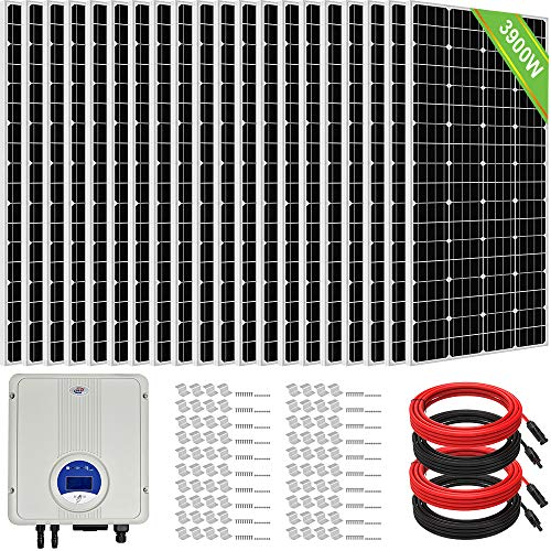 ECO-Worthy 3900W 15KWH/Day Grid Tie Complete Solar Panel System Kit: 20pcs 195W Solar Panel + 5KW Grid Tie Inverter + Solar Cable