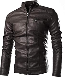 MK988 Men Pu Leather Classic Washed Stand Collar Moto Biker Jacket Coat Outerwear