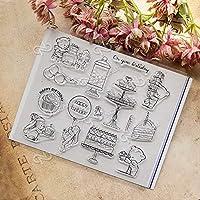 お誕生日おめでとうケーキクマ透明クリアシリコンスタンプ/DIYスクラップブッキング/アルバム用シール装飾クリアスタンプシートA134