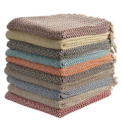 Large Cotton Zig-Zag Sofa Throws Single Bed Throw Arm Chair Covers 125 x 150cms ( Colour sent on Random Basis) by EHC