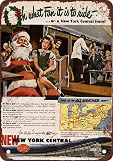 1948nueva york central de Navidad tren reproducción de aspecto Vintage Metal placa metálica, 12x 18inches
