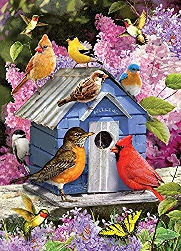 Zyysyzsh Puzzels 1500 Stukjes Volwassen Houten Puzzels Classic Puzzel Vrije Tijd Creatieve Spelletjes,Lente Vogels En Nestkastjes