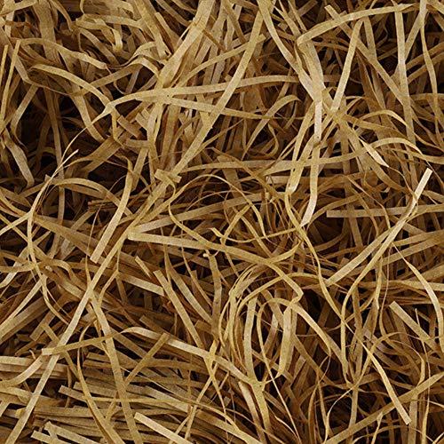 Nigaga - Papel de seda triturado de 200 gramos, papel de regalo de rafia para embalaje de regalo y relleno de caja de regalo, relleno de cesta, suministros de fiesta (marrón) G-9