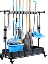 Broom holder Floor Standing Movable Floor-Mounted mop Rack Cleaning Tool Storage for Schools, Hospitals, Factories, Hotels,