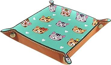 HOHOHAHA Składana taca do toczenia kości ze skóry PU do zegarka biżuteria przechowywanie etui uchwyt kot kreskówkowy, ukła...