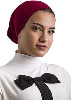 Women's Instant Tube Bandana Cotton Lycra Bonnet Cap Under Scarf Stretch Soft Silky Hat Solid Colors