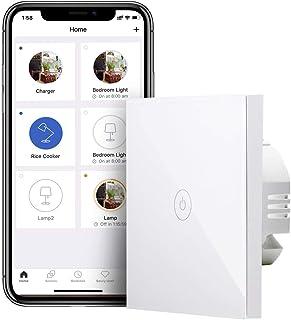 meross Inteligentny włącznik światła Wi-Fi, wymaga przewodu zerowego, 1-biegowy ekran dotykowy, sterowanie za pomocą aplik...