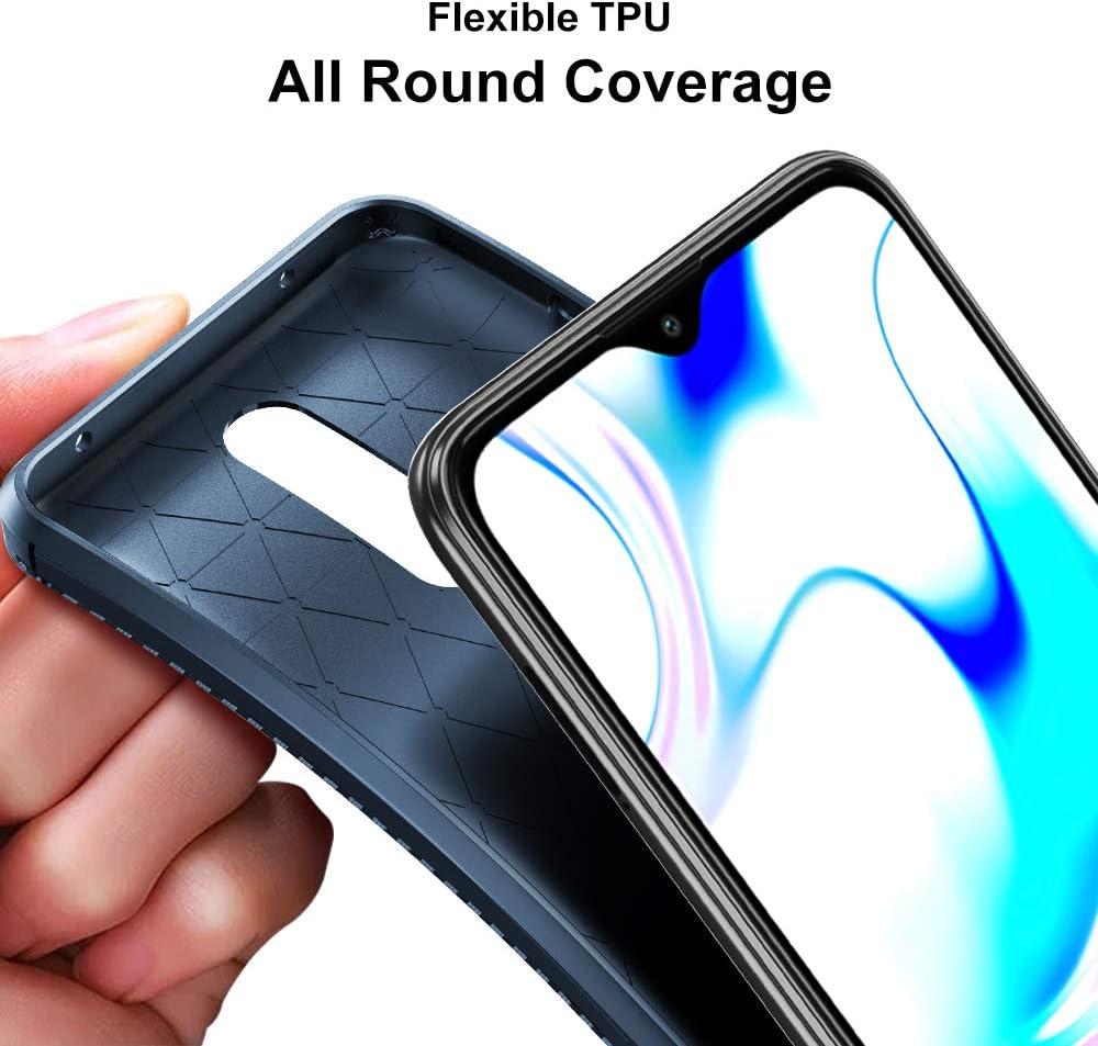 Fibra de Carbono Carcasa Ligera Silicona Suave TPU Gel Bumper Caso Case Cover con Shock- Absorci/ón VGUARD 2 Unidades Funda para OnePlus 8 Pro, Negro+Azul