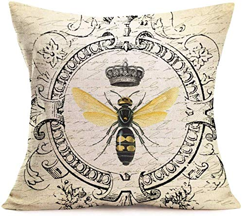 PotteLove Throw Pillow Covers Modern Vintage French Queen Bee Decorative Throw Pillow Case Cushion Cover Cotton Linen Chair Livingroom Sofa Decor (French-Bee) 24x24 inch