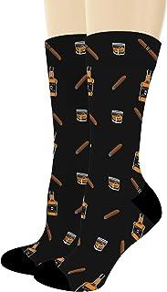 Whiskey Gifts for Men & Women Whiskey & Cigars Socks Alcohol Themed Gifts Whiskey Novelty Crew Socks
