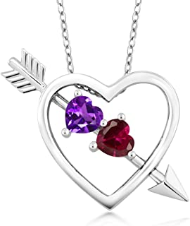 Gem Stone King 1.00 Ct Amethyst Red Created Ruby 925 Sterling Silver Heart & Arrow Pendant