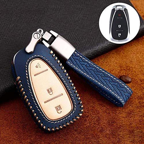 SDFGDFGD Carcasa de Cuero para Llavero, Funda para Llave de Coche, para Chevrolet Cruze Malibu XL Equinox Camaro ChevyB Azul