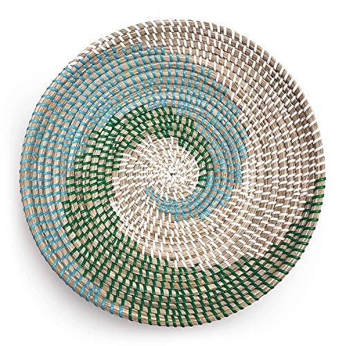 Natural Woven Fruit Basket Bowl | Handmade Seagrass Decorative Bowl Chic Rustic Boho Decor Wall Hanging | Great Housewarming Gift (Teal Spiral)