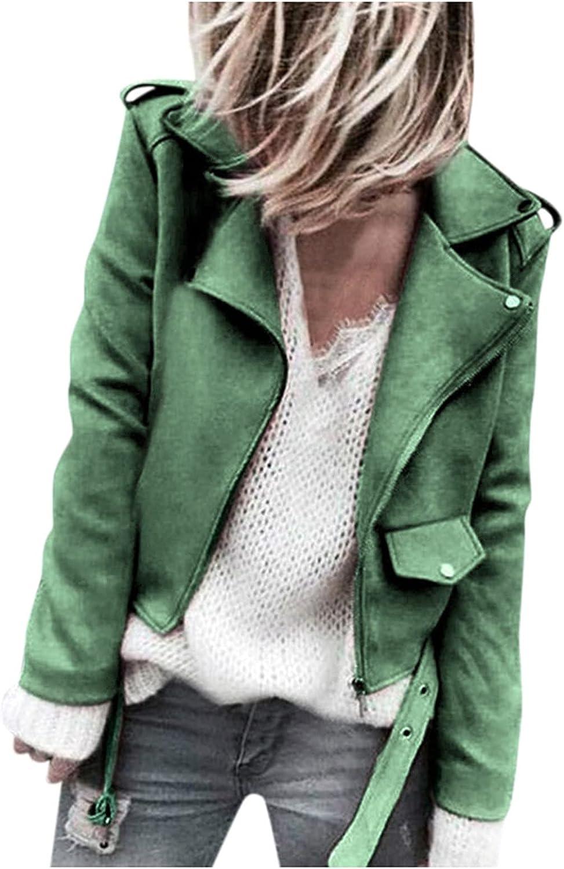BEUU Women's Faux Suede Jackets Casual Long Sleeve Zipper Up Short Moto Biker Coat with Buckle Open Front Cardigan Coat