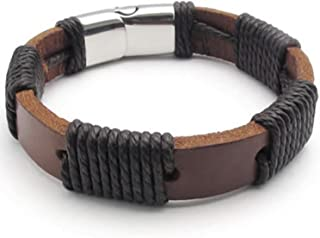 MENDINO Mens Womens Wide Punk Rock Cuff Bangle Adjustable Braided Leather Black Bracelet Fit 7-8 inch